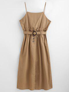 High Waist Belted Slit Casual Dress - Camel Brown L