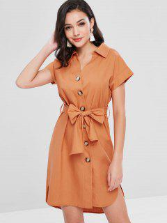 Slit Button Up Shirt Dress - Dark Orange M