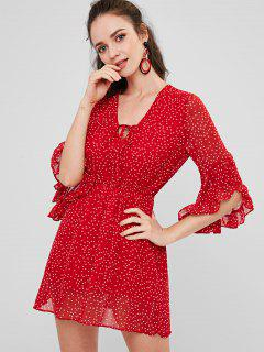 Polka Dot Chiffon Ruffles Dress - Love Red