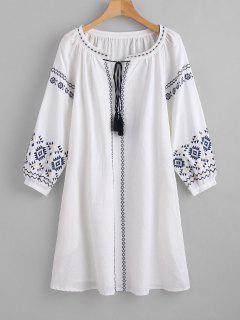 Mini Vestido Bordado Borlas - Blanco L