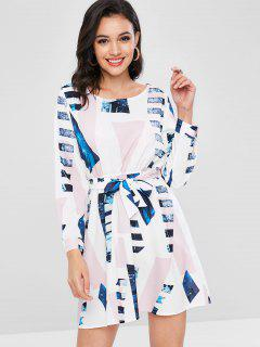 Printed Belted Flare Dress - White Xl