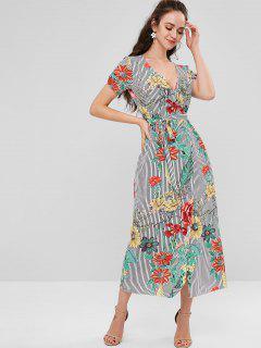 Vestido Con Pliegues De Rayas Florales - Multicolor L