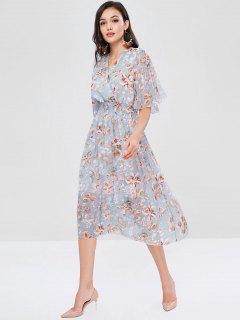 Plant Print Shirred Surplice Dress - Multi S
