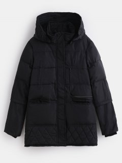 Winter Faux Fur Lined Quilted Coat - Black L