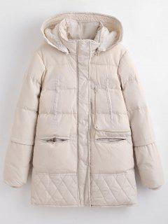Winter Faux Fur Lined Quilted Coat - Warm White L