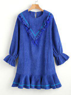Ruffle Drop Waist Dress - Ocean Blue M