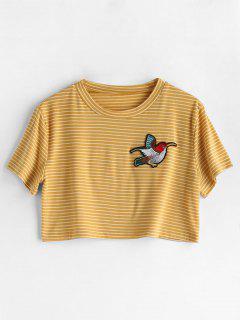 Striped Bird Applique T-shirt - Yellow M