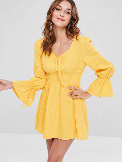 Vestido De Manga Larga Con Cintura Fruncida - Amarillo De Sol  L