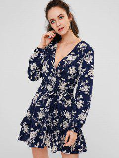 Floral Ruffle Surplice Dress - Blue M