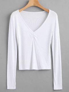 T-shirt Côtelé Manches Longues à Col V - Blanc M
