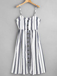Button Through Cami Striped Midi Dress - Multi S