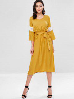 Lace Panel Knotted Mid Calf Dress - Golden Brown S