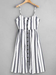 Button Through Cami Striped Midi Dress - Multi M