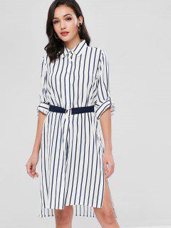 Slits Striped Longline Shirt - Multi M