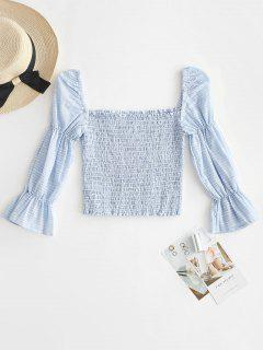Square Neck Stripe Smocked Blouse - Light Blue L