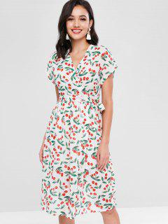 Cherry Print Wrap Dress - White