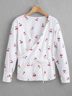 Long Sleeve Cherry Embroidered Wrap Top - White S