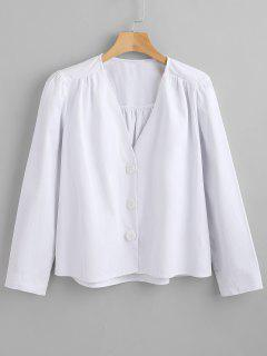 Button Up Long Sleeve Top - White L