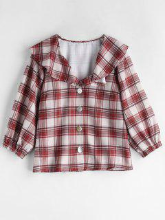 Ruffle Plaid Blouse - Multi M