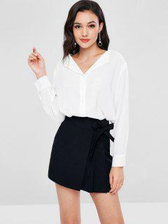 V Neck Button Up Blouse - White S