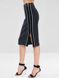 Zip Up Striped Midi Knit Skirt - Black