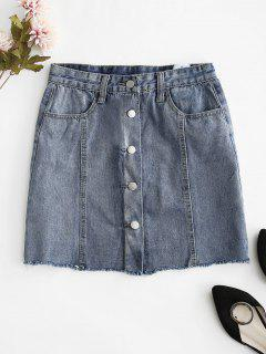 Button Fly Denim Skirt - Pastel Blue L