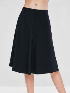 Mid Waist A Line Skirt - Black S