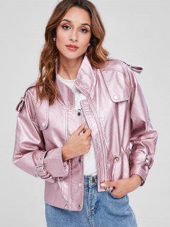 Drawstring Metallic Faux Leather Trench Jacket - Pink S