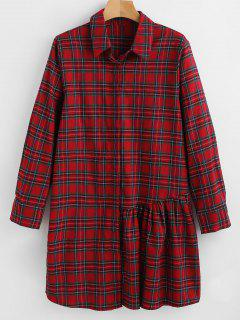 Flounce Plaid Tunic Blouse - Multi L