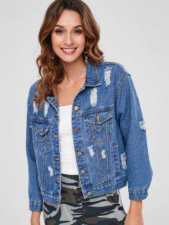 Distressed Button Up Denim Jacket - Denim Dark Blue