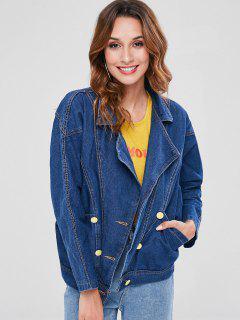 Buttoned Loose Denim Jacket - Denim Dark Blue