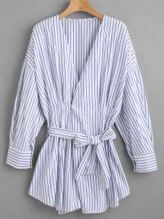 Belted Striped Long Shirt - Blue L