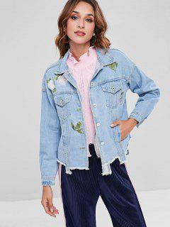 Ripped Floral Embroidered Denim Jacket - Sea Blue L