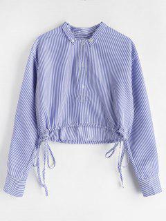 Half Button Striped Blouse - Sky Blue S