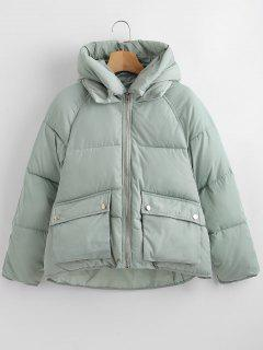 Pockets Hooded Quilted Jacket - Green Xl