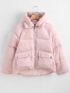Pockets Hooded Quilted Jacket - Pink Xl