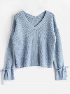 V Neck Tied Sleeve Boxy Sweater - Light Blue