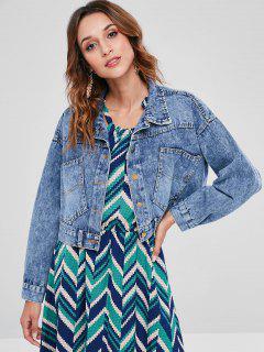 Cropped Button Up Jean Jacket - Denim Blue L
