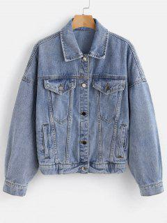 Bleached Oversized Denim Jacket - Blue L