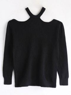 Cutout Shoulder Jumper Sweater - Black