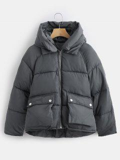 Pockets Hooded Quilted Jacket - Gray Xl