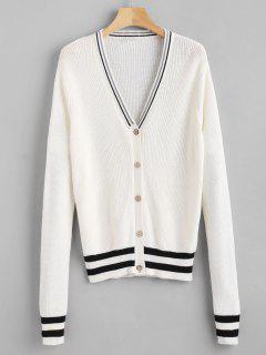 V Neck Classic Striped Cardigan - White