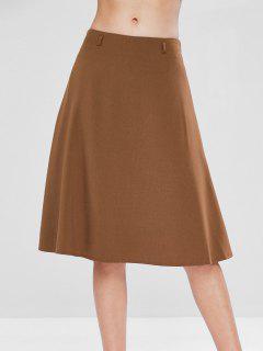 Mid Waist A Line Skirt - Light Brown M