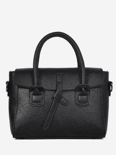 PU Leather Convertible Handbag - Black