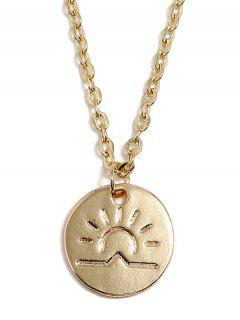 Sun Printed Round Shaped Pendant Necklace - Gold
