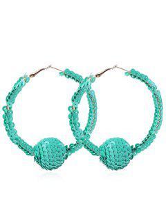 Shiny Sequins Ball Hoop Earrings - Cyan Opaque