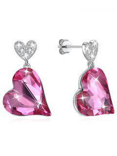 Pendientes De Cristal Con Diseño De Corazón - Rosa Brillante
