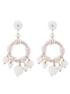 Vintage Beaded Balls Decorative Drop Earrings - White