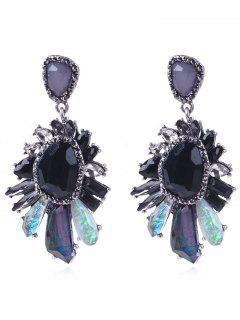 Elegante Faux Gem Dangle Drop Earrings - Negro