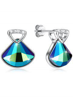Fan Design Crystal Earrings - Azul De Dodgers